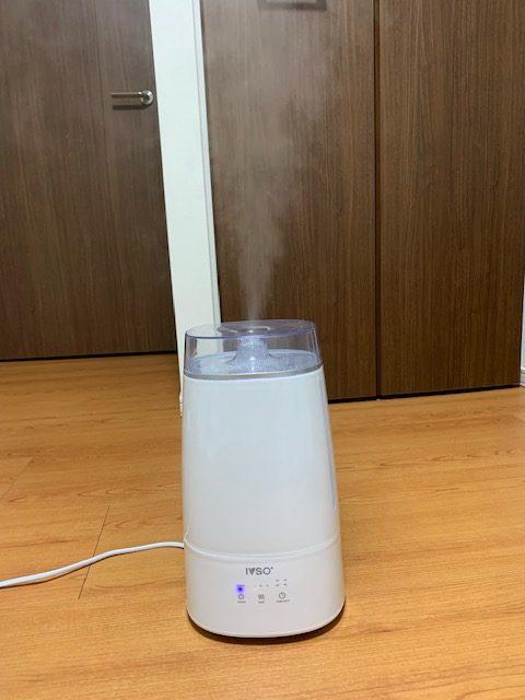 次亜塩素酸水を入れた加湿器で噴霧する