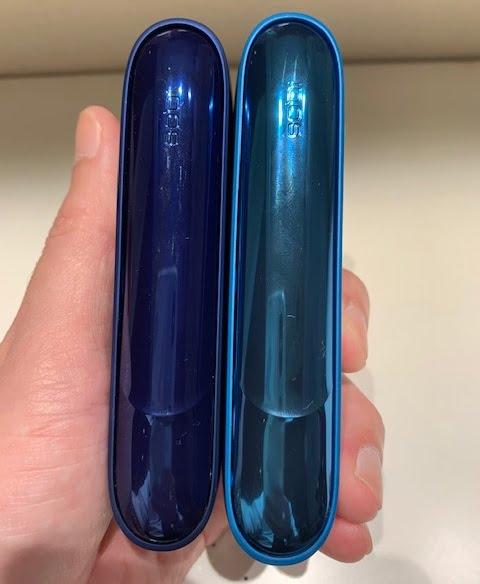 アイコス涼モデルとステラーブルーサイドパネル比較別角度