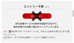 楽天市場SPUスーパーポイントアッププログラムエントリー不要説明画面