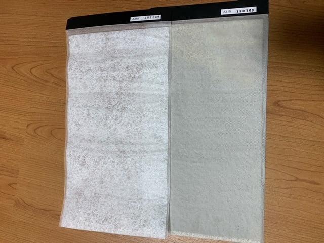 ペット脱臭フィルター新品と1年使用した物を比較した画像