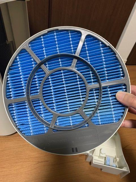 加湿空気清浄の加湿フィルターを取り外した状態