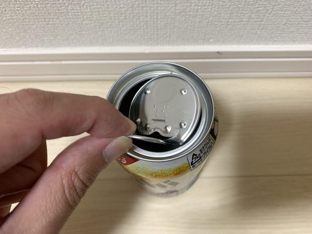 アサヒ スーパードライ 生ジョッキ缶本体にフタをしまう