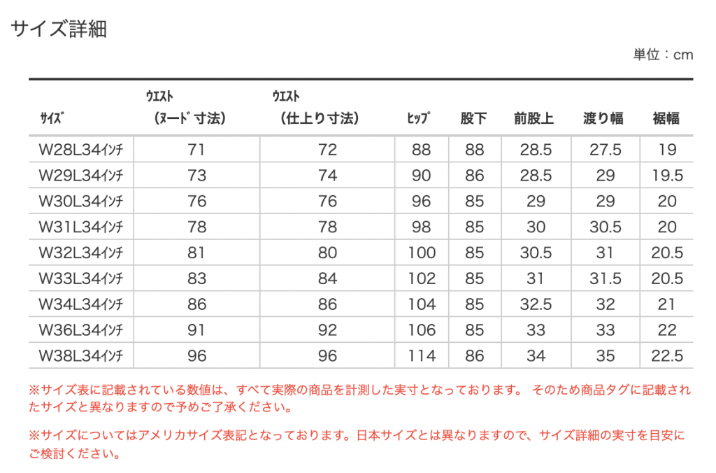 リーバイス公式 501xx 1947 サイズ表